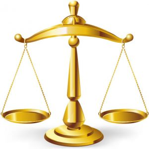 A vector graphic of a scale used as a symbol of the justice system.